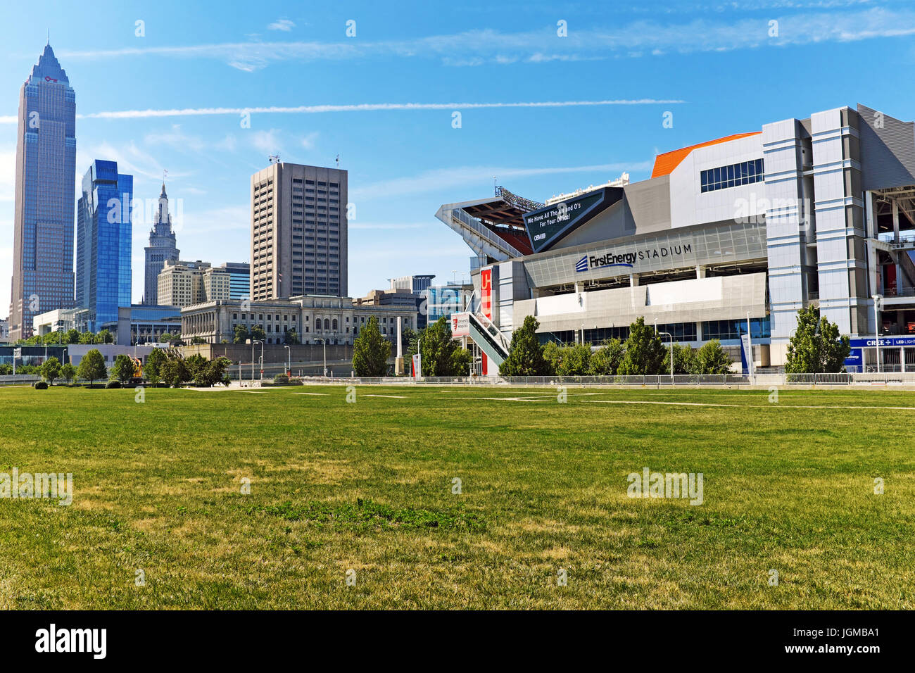 Cleveland skyline with FirstEnergy Stadium in the foreground where major events are held alongside hosting the NFL - Stock Image