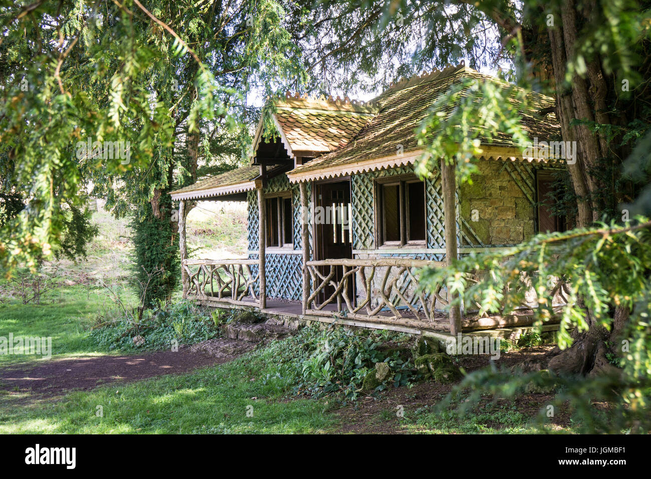 A dis-used summerhouse in the garden at Lowther Castle, Cumbria, UK - Stock Image