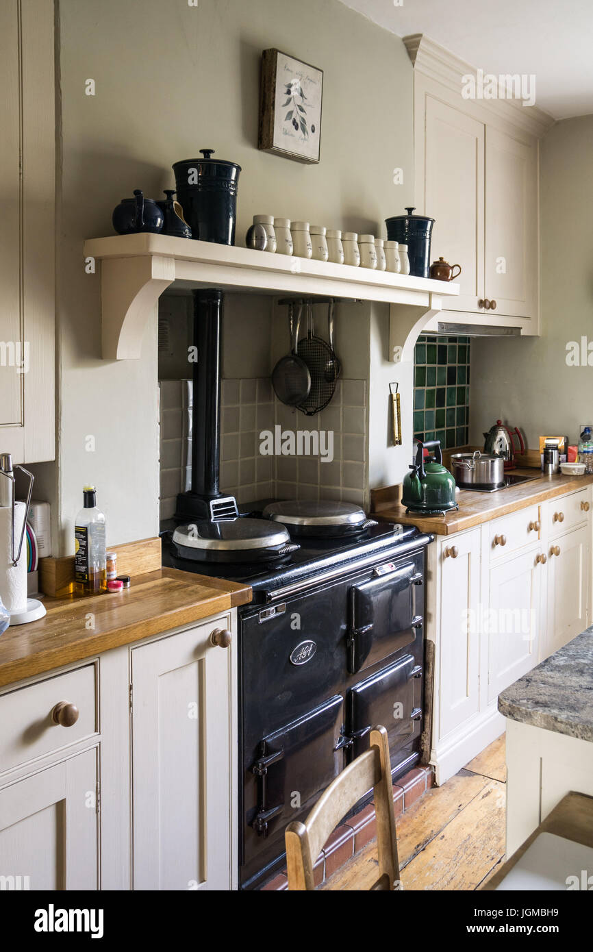 An Aga Stove In A British Country Kitchen