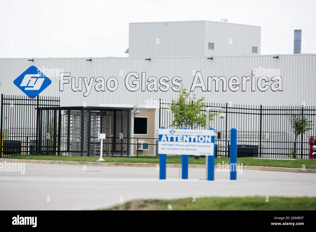 A logo sign outside of a facility occupied by Fuyao Glass America in Moraine, Ohio on June 30, 2017. - Stock Image