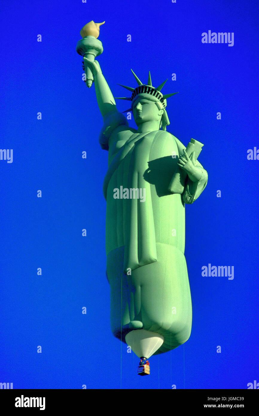 Hot balloon festival in Albuquerque in , the Statue of Liberty, blue sky, , Hot Ballon Festival in Albuquerque , - Stock Image