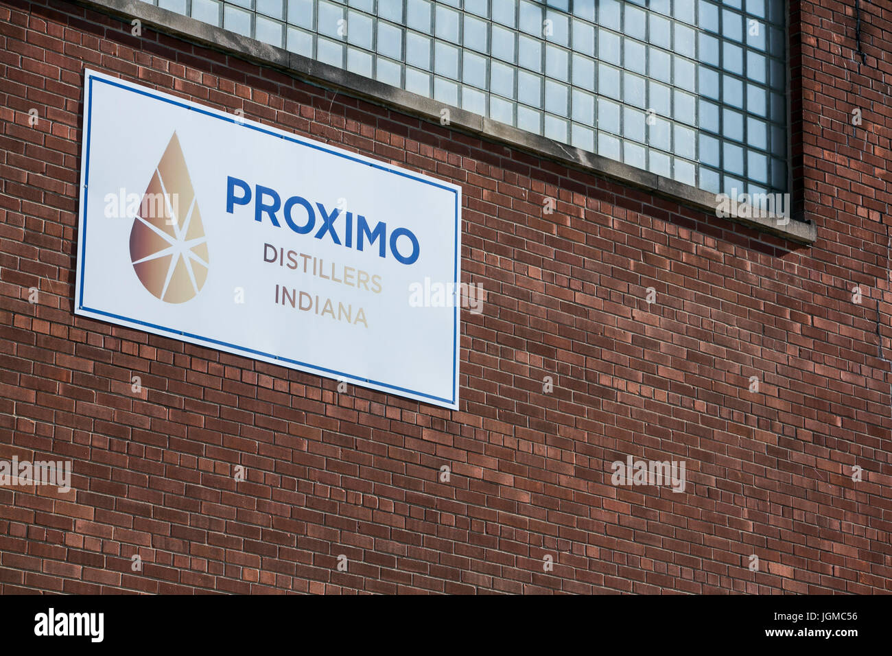A logo sign outside of a facility occupied by Proximo Spirits, Inc., in Lawrenceburg, Indiana on July 2, 2017. - Stock Image