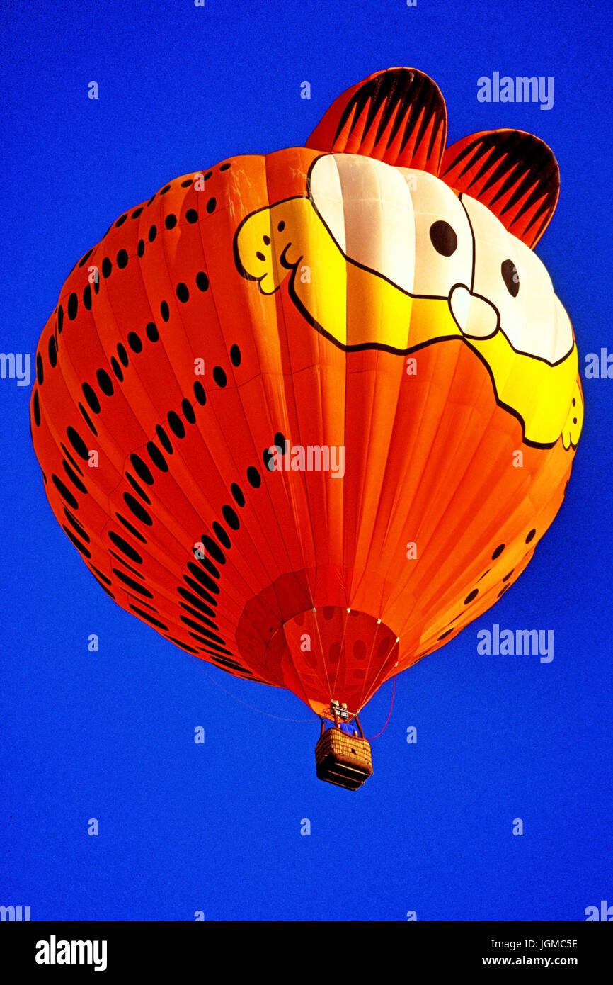 Hot balloon festival in Albuquerque in , hot-air balloon, Garfield, blue sky, , Hot Ballon Festival in Albuquerque - Stock Image