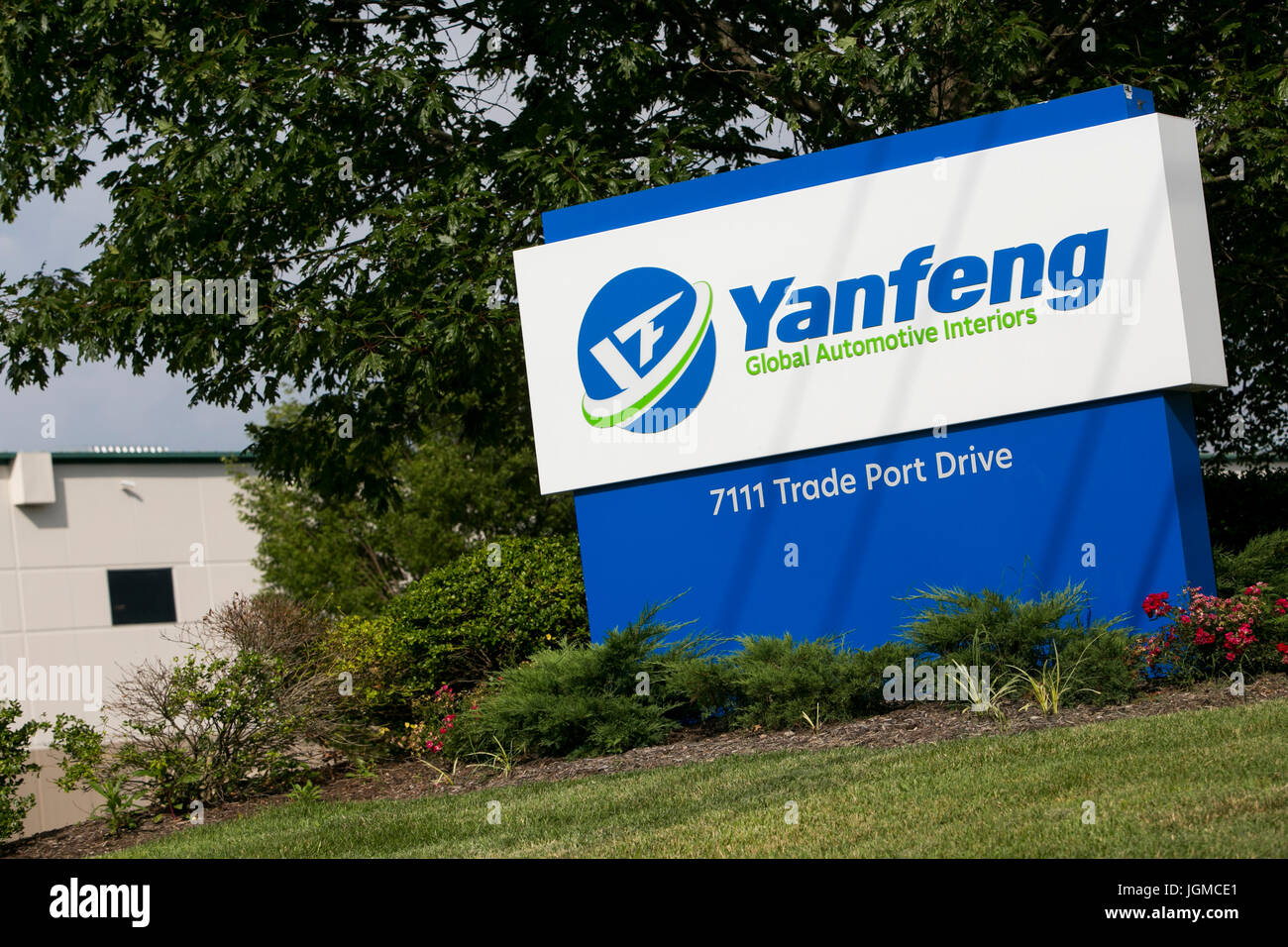 A logo sign outside of a facility occupied by Yanfeng Automotive Interiors in Louisville, Kentucky on July 1, 2017. - Stock Image