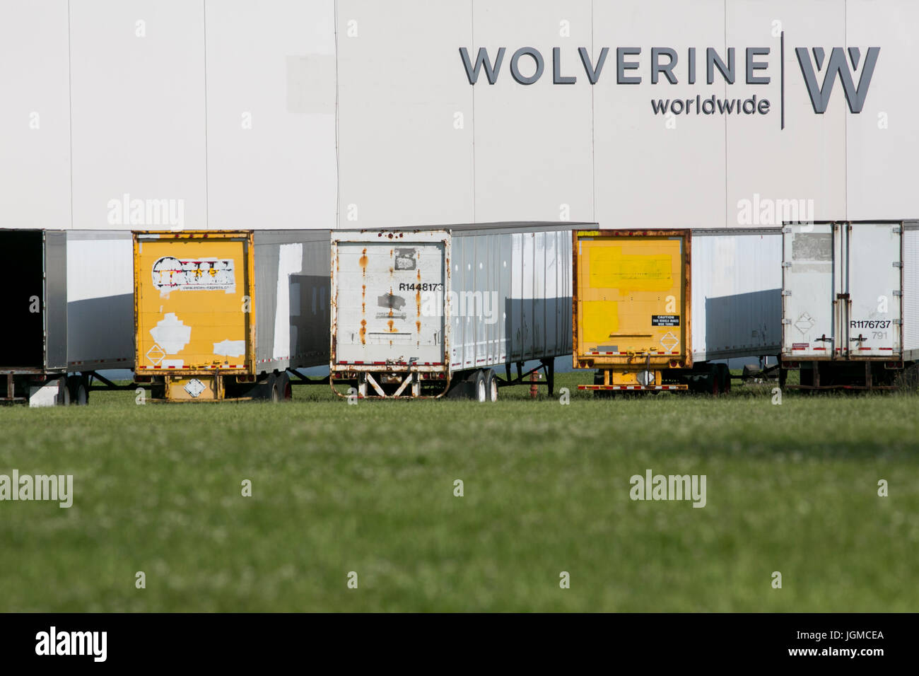 A logo sign outside of a facility occupied by Wolverine World Wide, Inc., in Louisville, Kentucky on July 1, 2017. - Stock Image