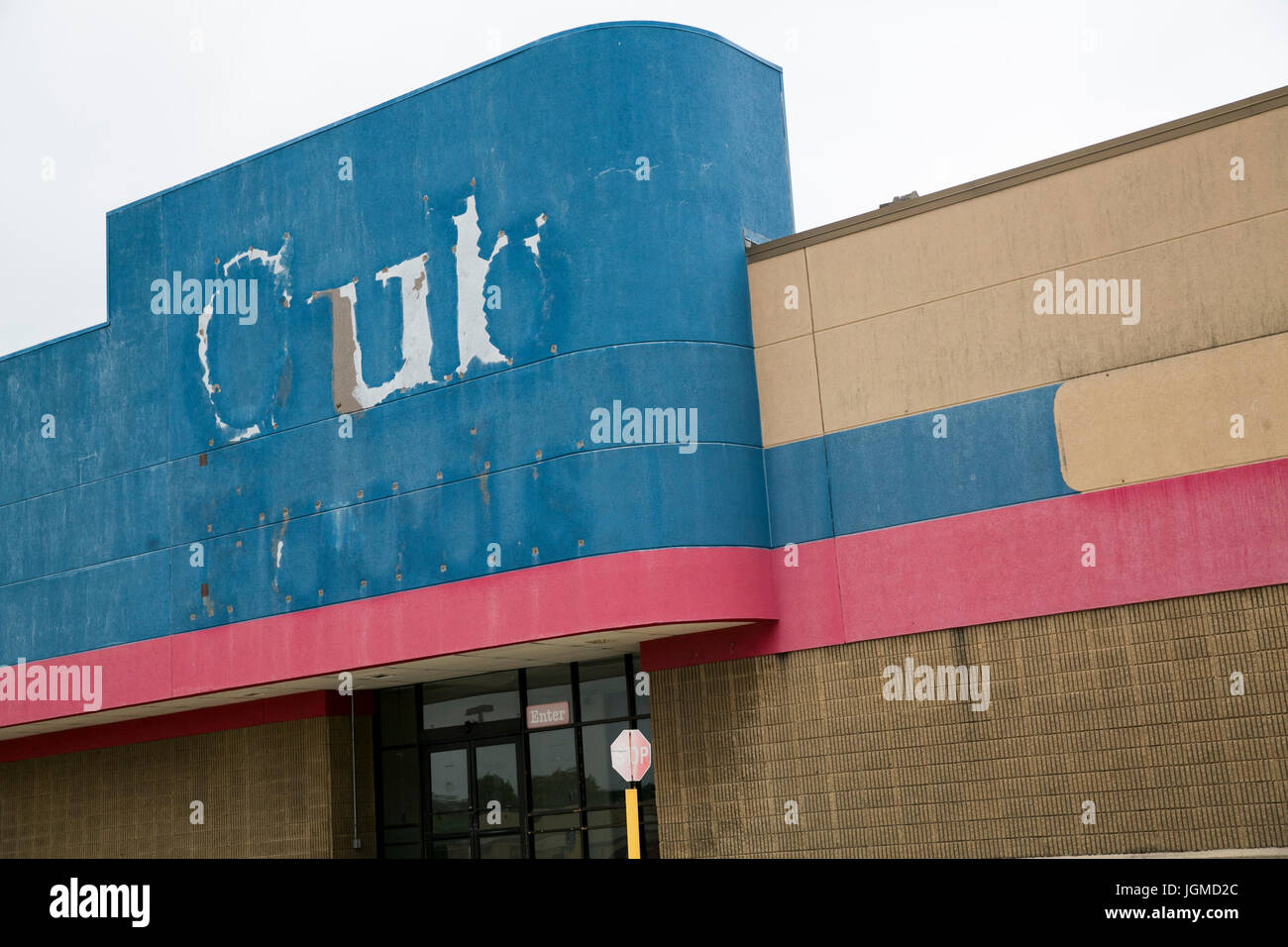 A logo sign outside of a closed and abandoned Cub Foods retail store in Trotwood, Ohio on June 30, 2017. Stock Photo