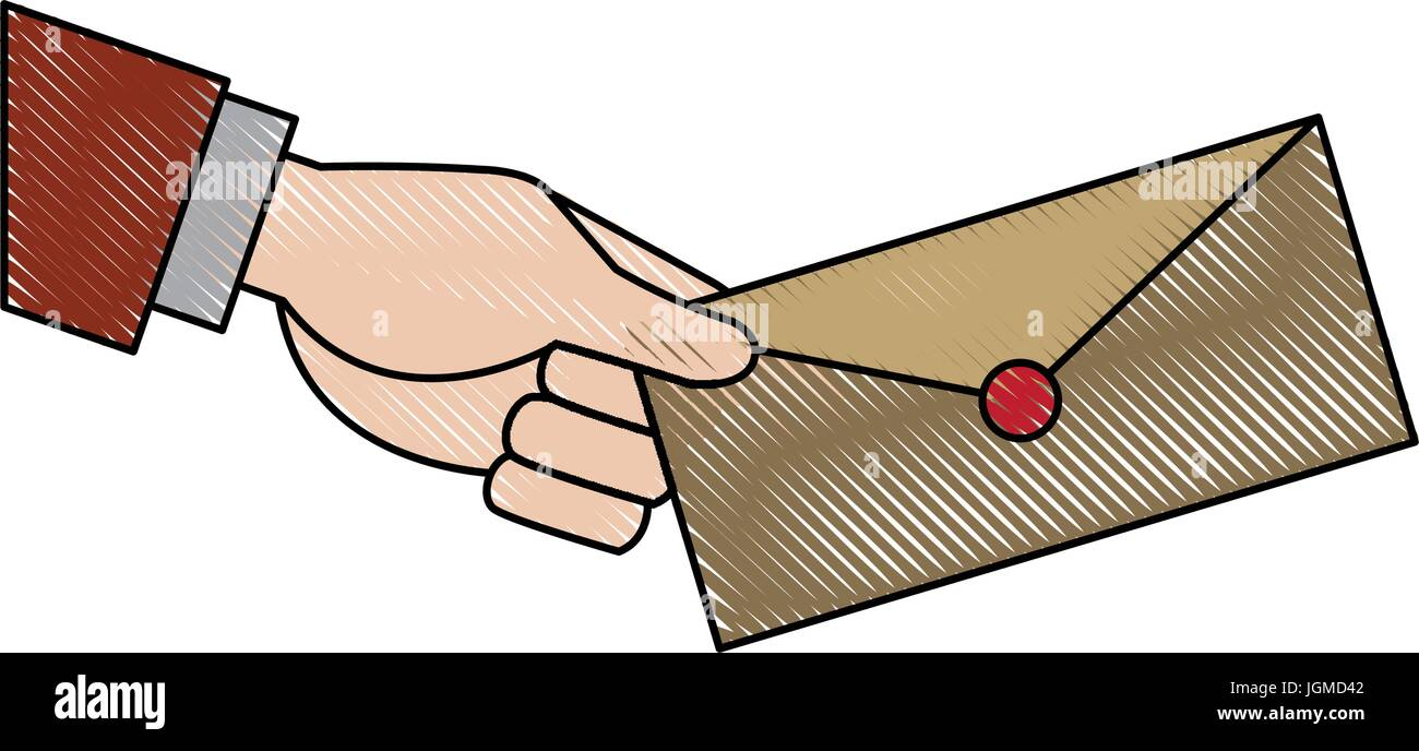 hand holding envelope mail postal icon - Stock Vector