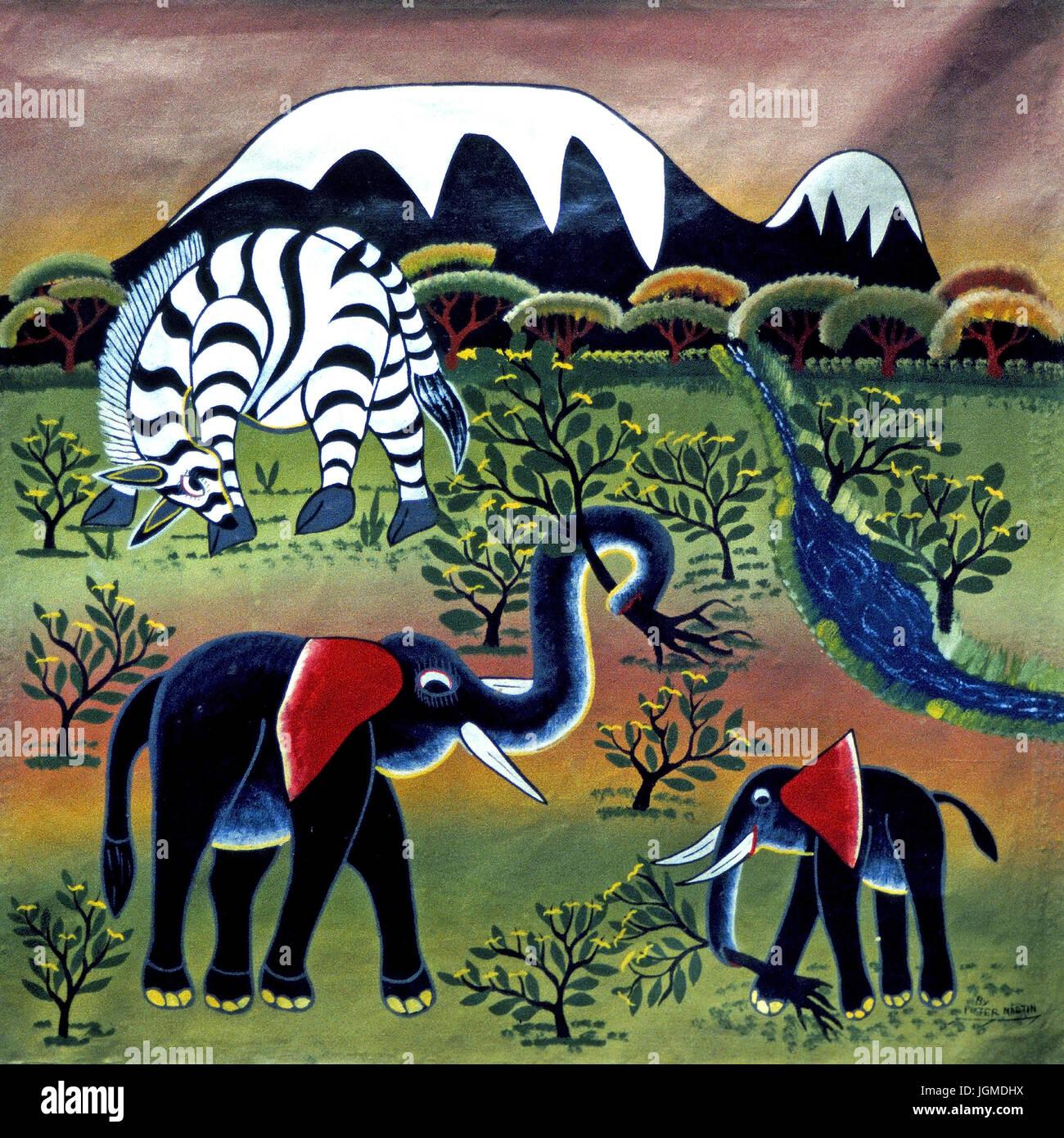 Naive painting, Tanzania, Africa, Naive Malerei, Afrika - Stock Image