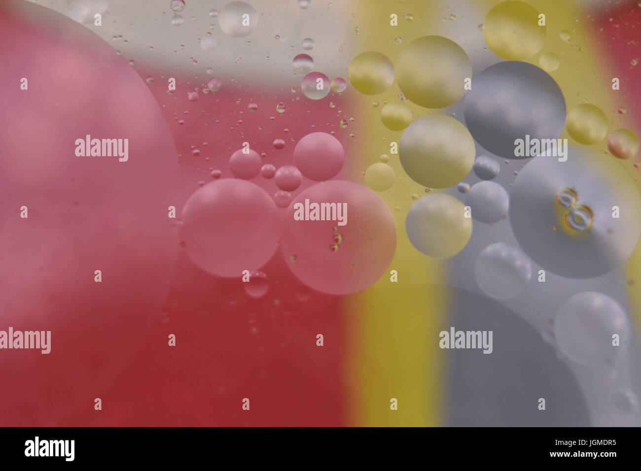 Oil and Water Macro Abstract with Various Colours.  All effects done in camera. Stock Photo