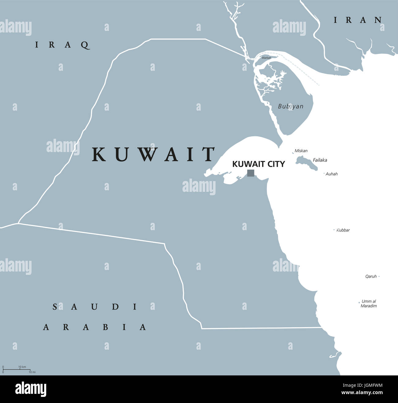 Kuwait political map with capital Kuwait City State and Arab
