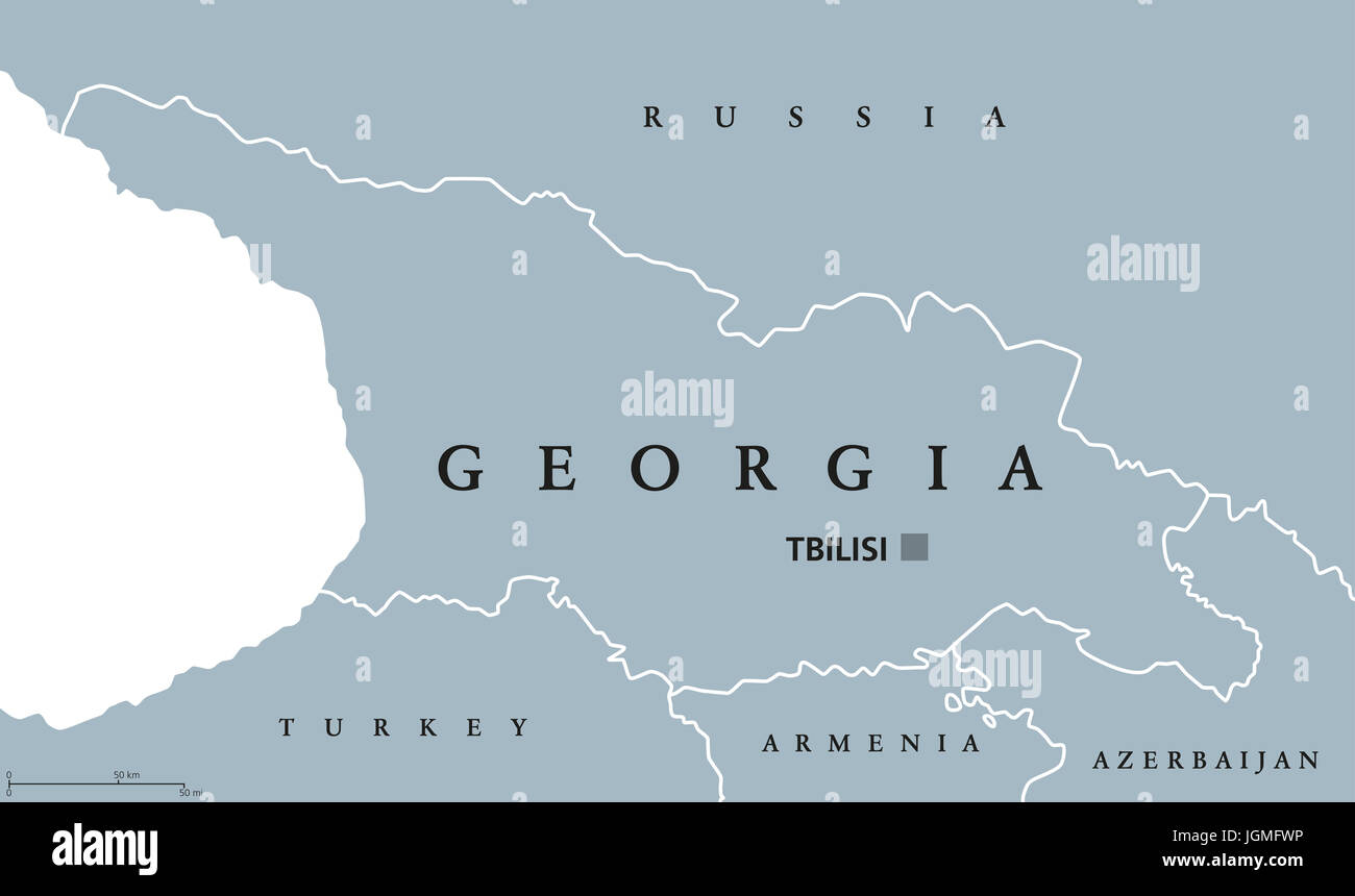 Map Of Georgia With Capital.Georgia Political Map With Capital Tbilisi And International Borders