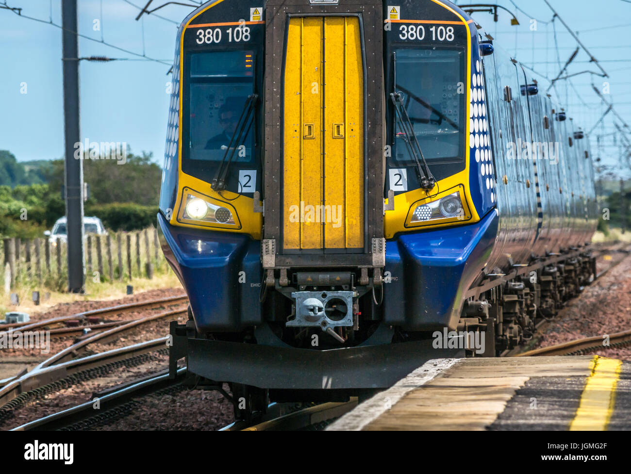Close up of Scotrail train on North Berwick line approaching Drem train station, East Lothian, Scotland, UK - Stock Image