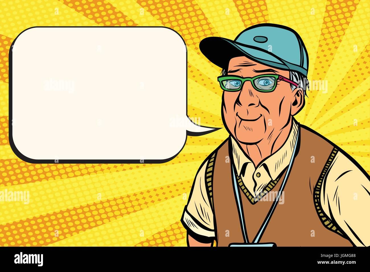 joyful old man in a baseball cap - Stock Vector
