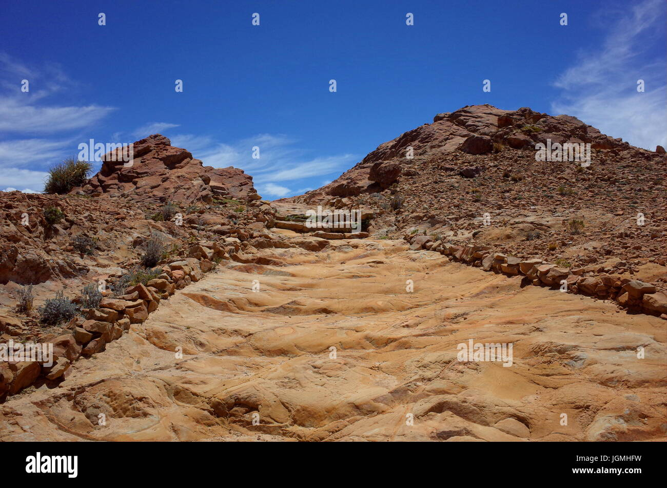 A hiking trail through the Isla Del Sol on Lake Titicaca - Stock Image