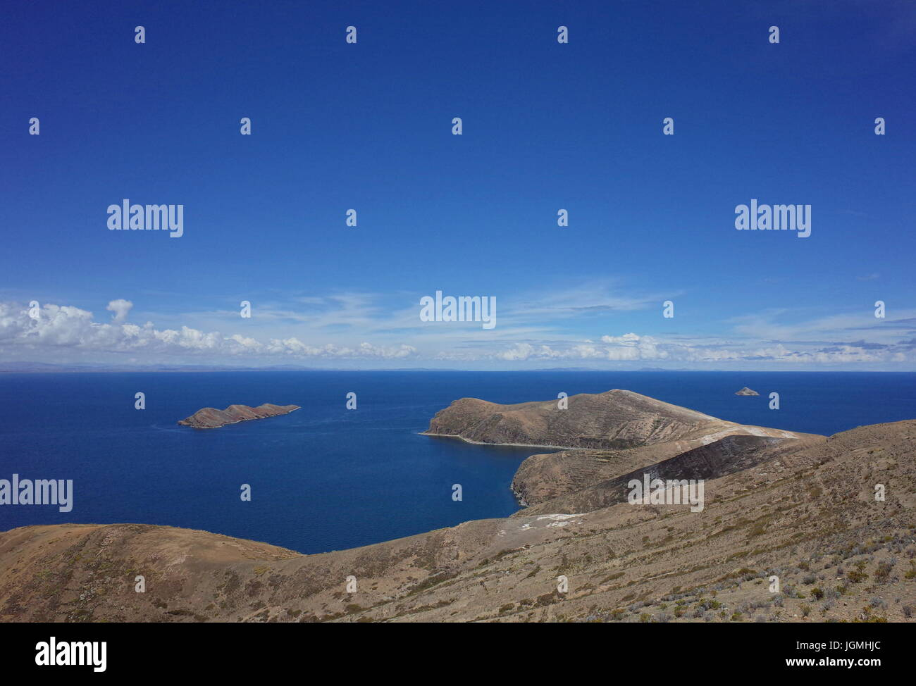 Breath taking view of Lake Titicaca as seen from the Isla del Sol - Stock Image