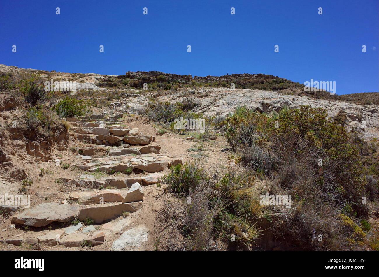 The Chincana Inca Ruins on the Isla del Sol on Lake Titicaca - Stock Image