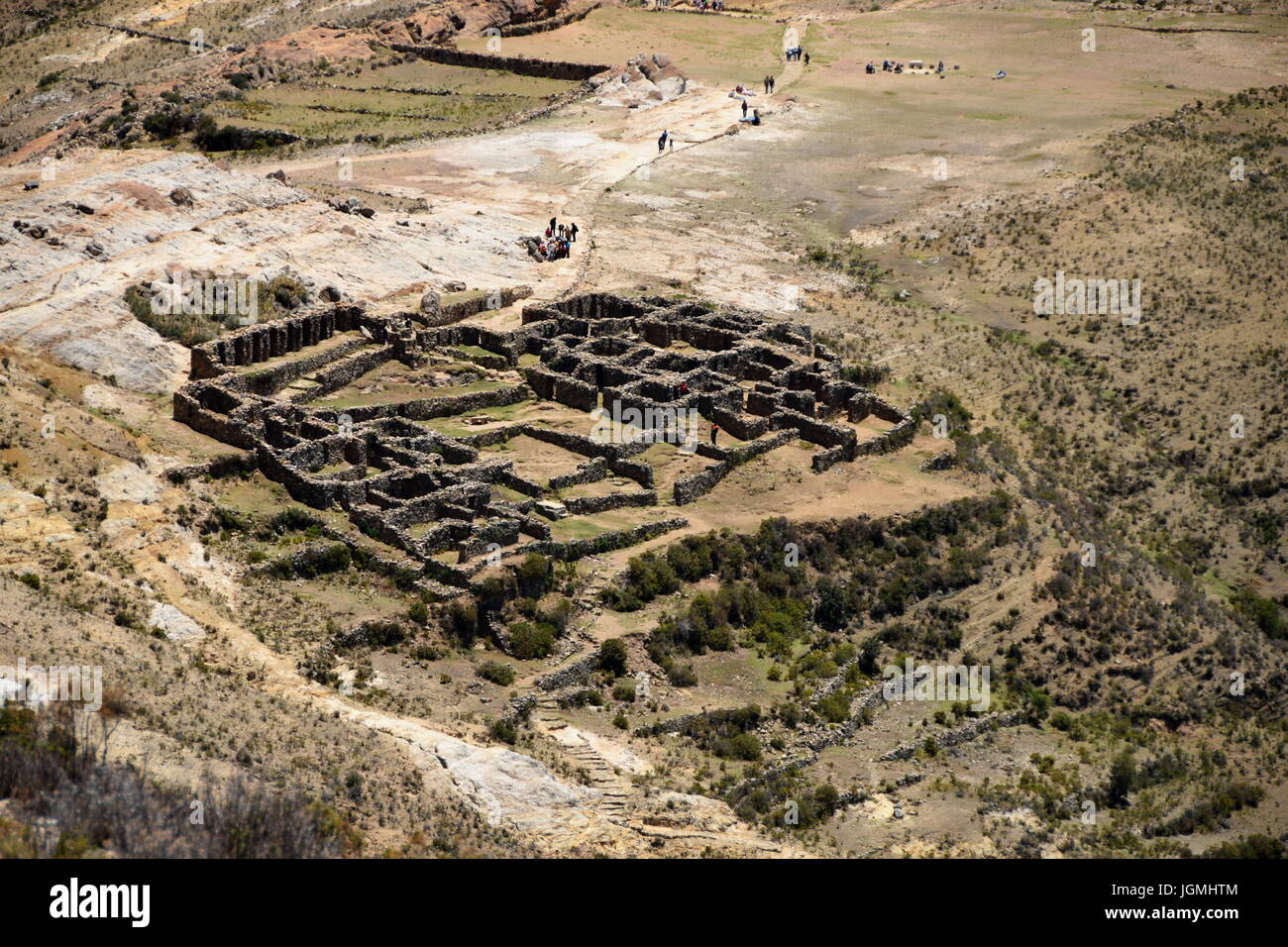 Stunning view of the Chincana Inca Ruins on the Isla del Sol on Lake Titicaca - Stock Image