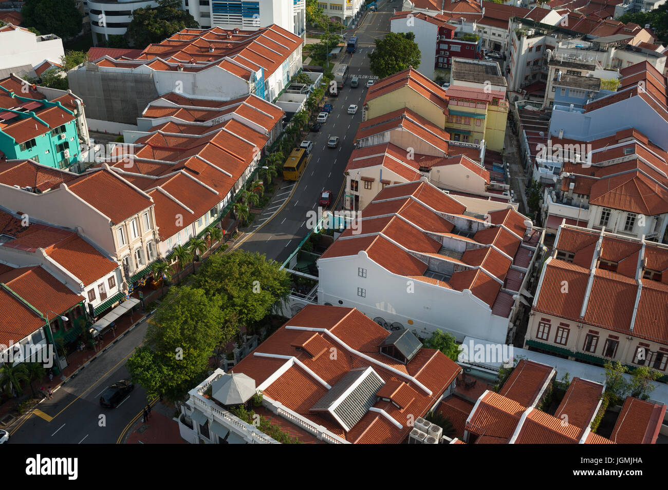07.07.2017, Singapore, Republic of Singapore, Asia - A view of traditional shop houses in Singapore's Chinatown - Stock Image