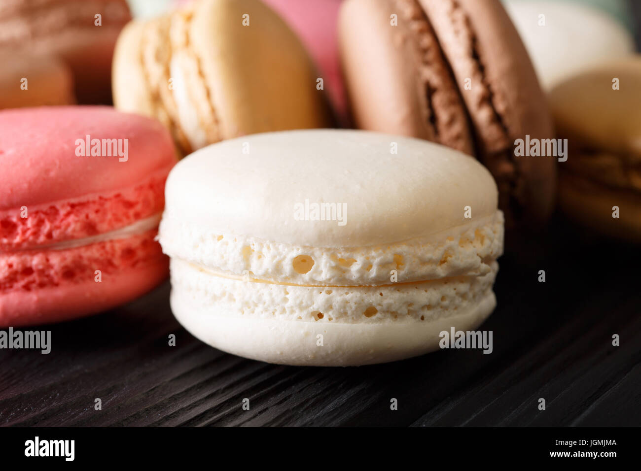 Freshly prepared macaroons, macro on the table. horizontal Stock Photo