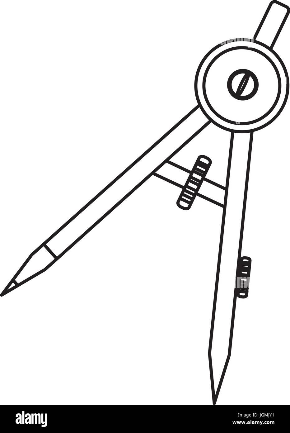 Compass geometry utensil - Stock Image