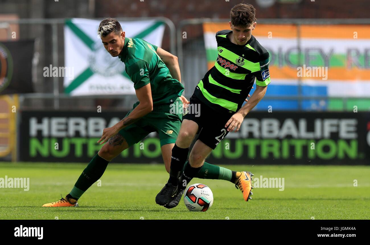 Celtic's Nir Bitton (left) with Shamrock Rovers' Aaron Bolger during the pre-season friendly at the Tallaght - Stock Image