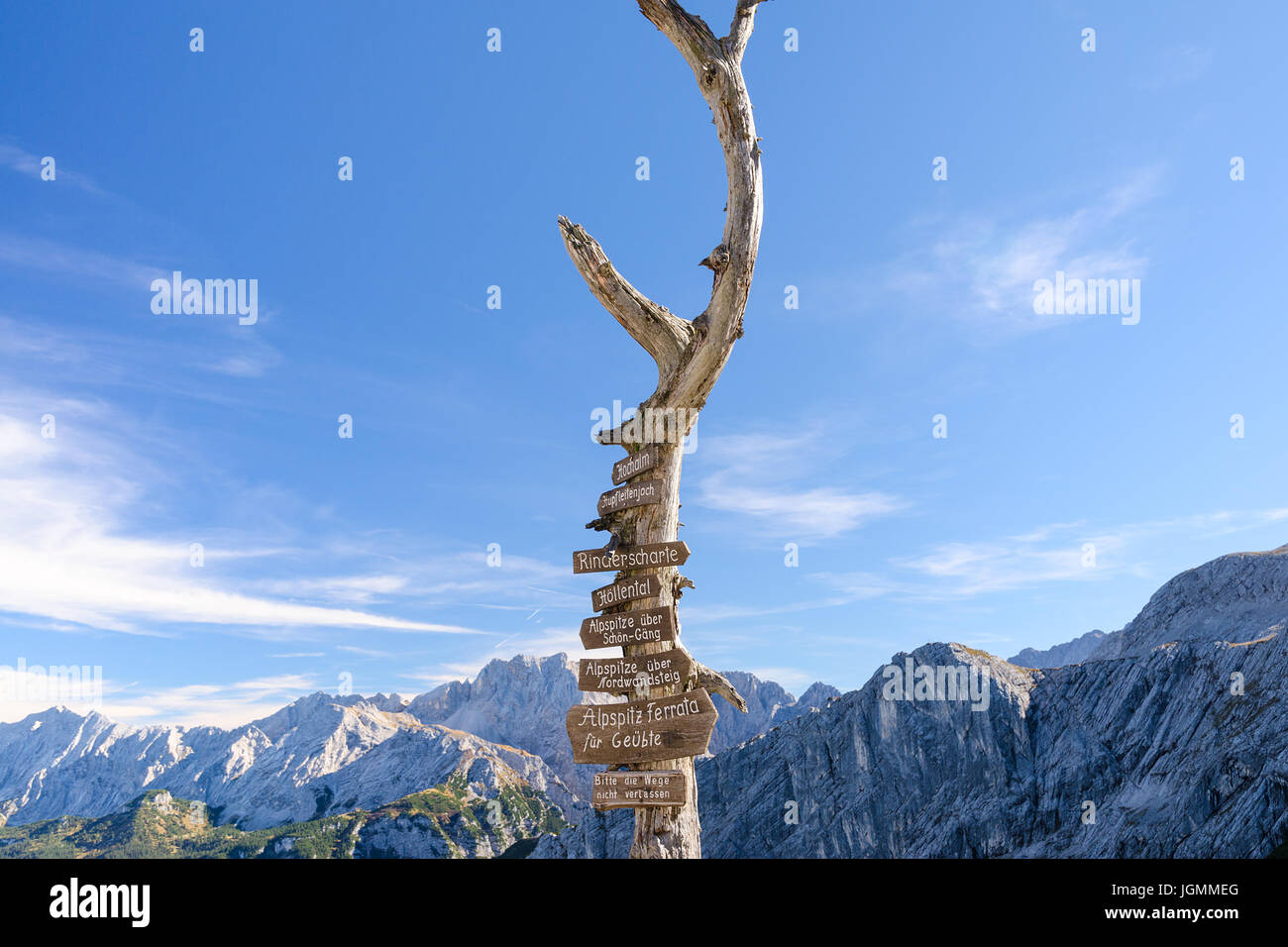 Wooden signpost with route arrows on dry tree in German Bavarian Alps mountains on Alpspitze peak - Stock Image