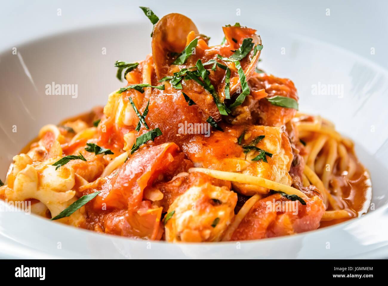 Seafood spaghetti marinara italian Stock Photo