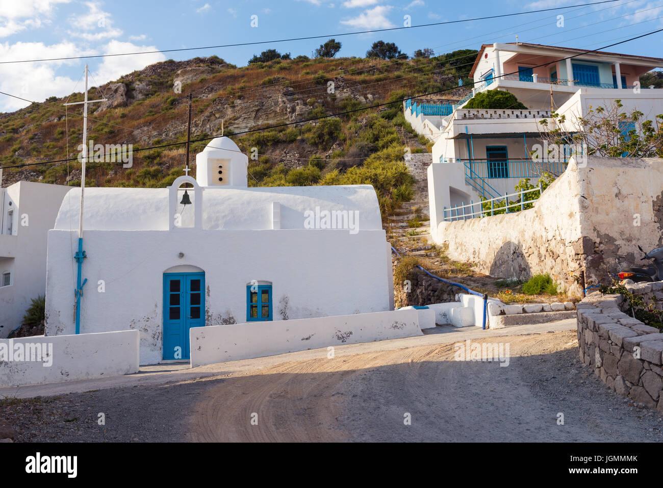 Traditional white church in Klima village. Milos island, Cyclades, Greece. - Stock Image