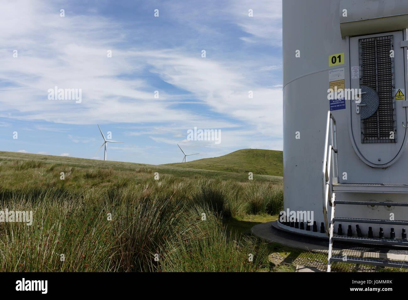 Steel access door on Wind turbine at scout moor wind farm - Stock Image