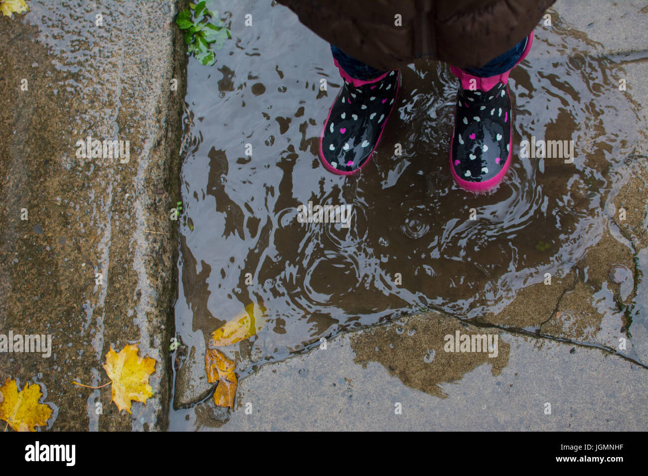 A small child stands in rain boots in a puddle in autumn. - Stock Image