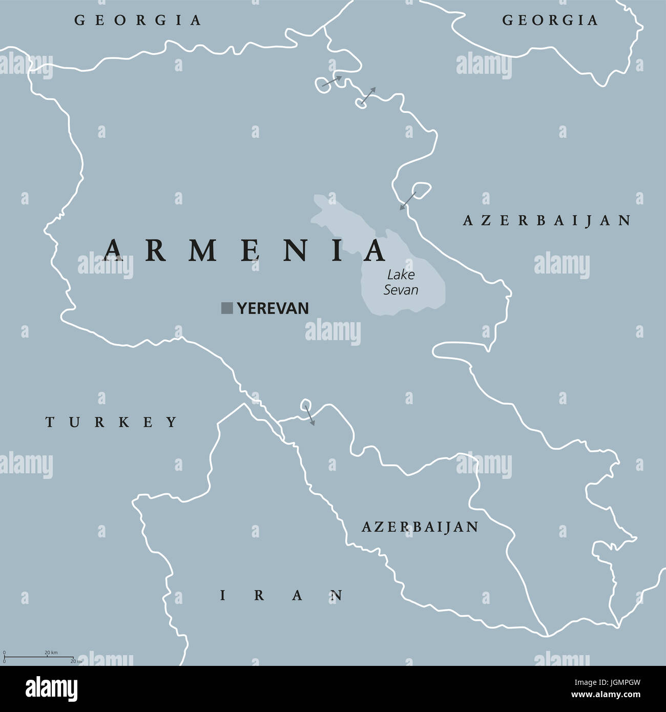 Armenia political map with capital Yerevan. Republic and sovereign ...
