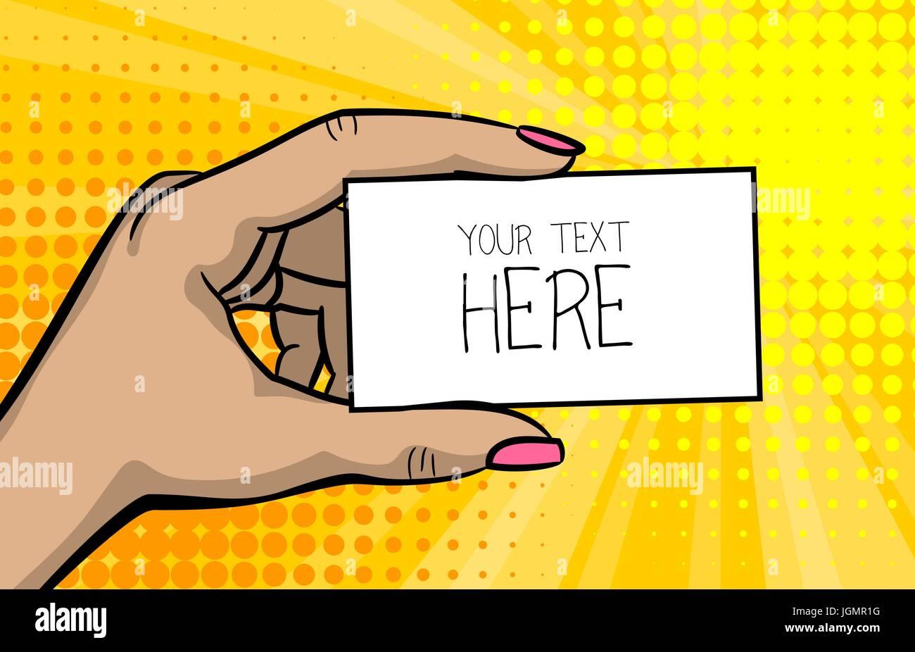 Pop art comic text business card girl woman hand stock vector art pop art comic text business card girl woman hand colourmoves