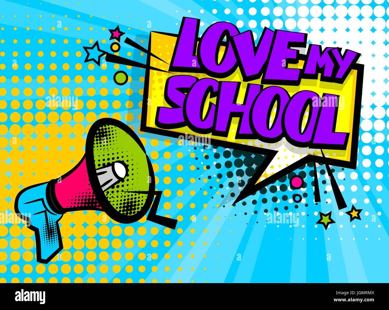 Megaphone Pop Art Love School Stock Vector Art Illustration