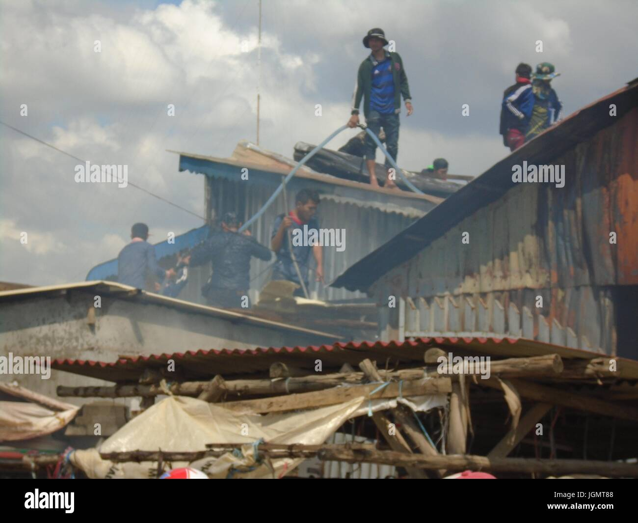 Emergency Resque Fire and First Responders Poipet Cambodia Decrepit Impoverished Town on the Thailand Border Line Stock Photo