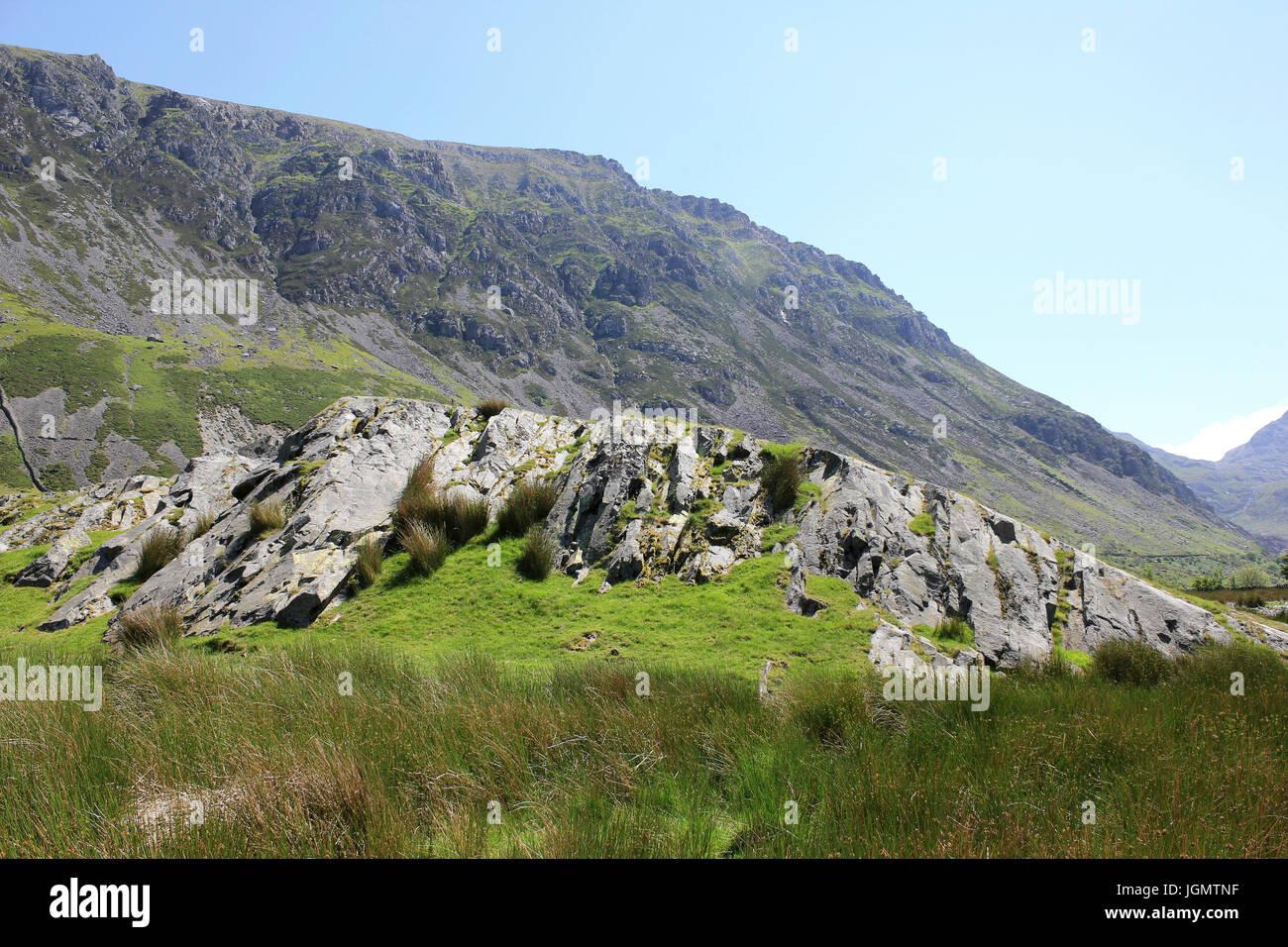 Roche Mountonee, Nant Francon Valley, Wales - Stock Image