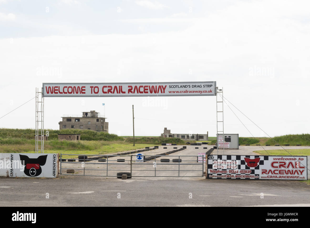 Crail raceway entrance on abandoned airfield WW1 WW2 Aerodrome HMS Jackdaw, Crail, East Neuk of Fife, Scotland, - Stock Image
