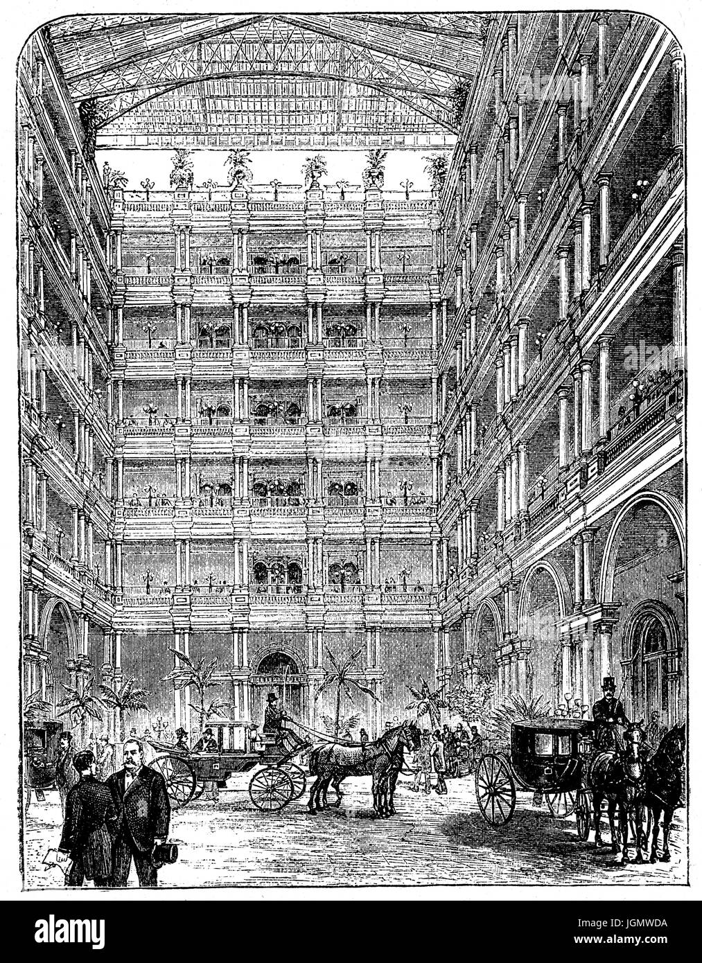 1879: The courtyard of the Palace Hotel, San Francisco, United States of America - Stock Image