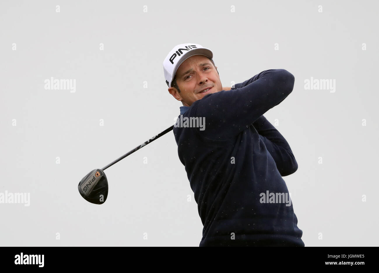 France's Julien Quesne tees off on the eighth during day four of the Dubai Duty Free Irish Open at Portstewart - Stock Image