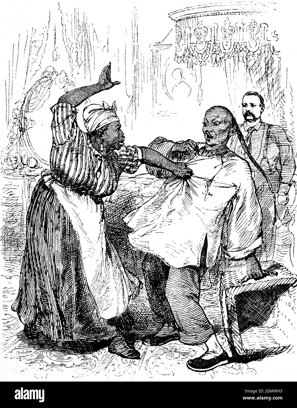 1879: A black hotel chambermaid in the Palace Hotel telling off a young Chinese laundryman, San Francisco, California, - Stock Image