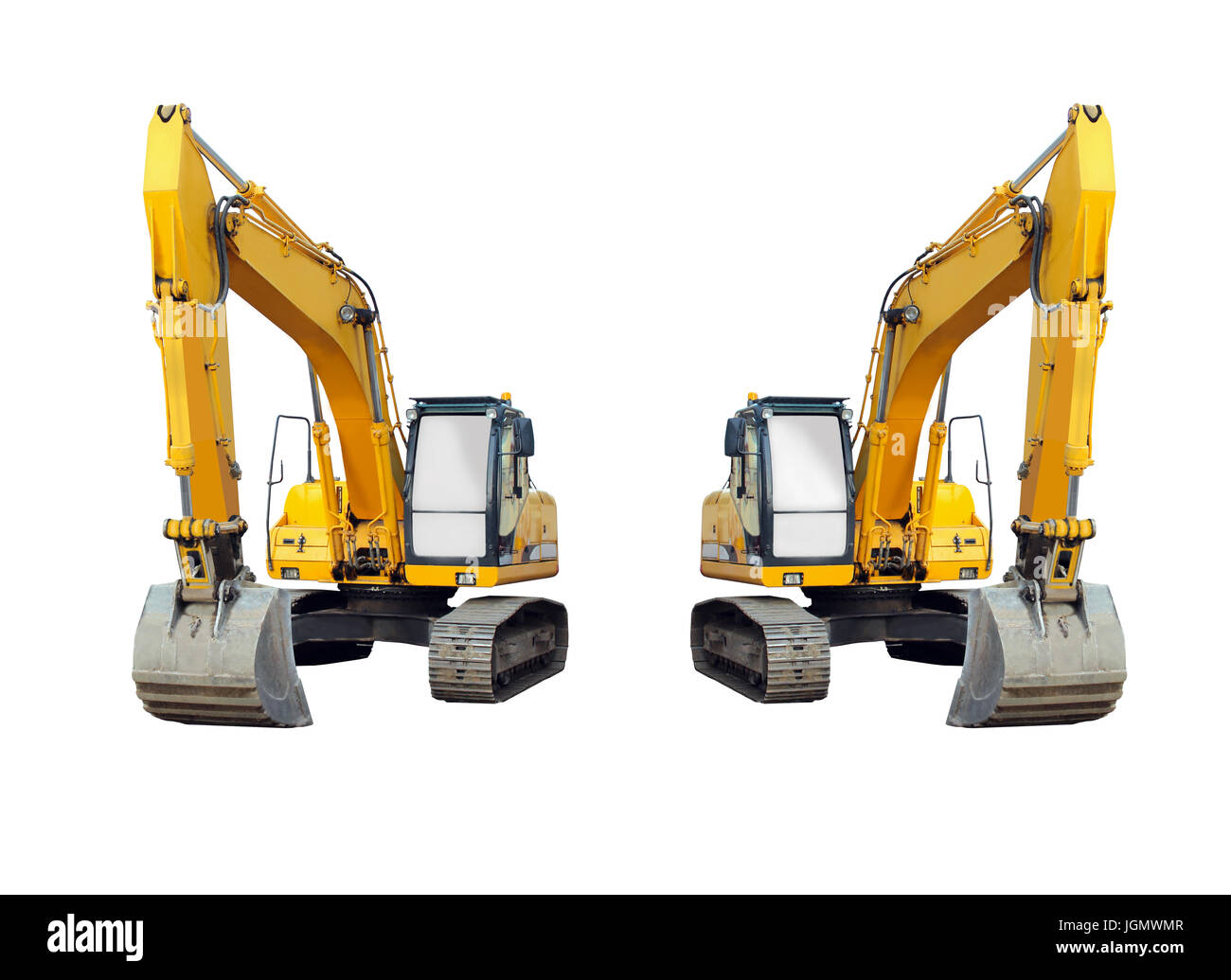 two excavators isolated on the white background - Stock Image