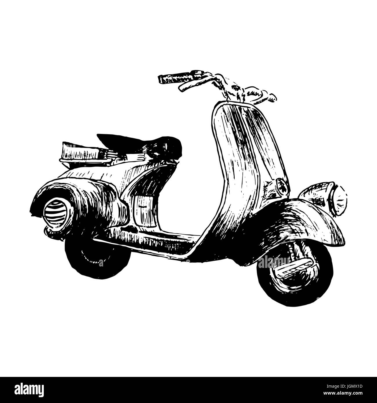 Vintage Motor Scooter Vector Illustration Hand Graphics Old Stock Vector Image Art Alamy