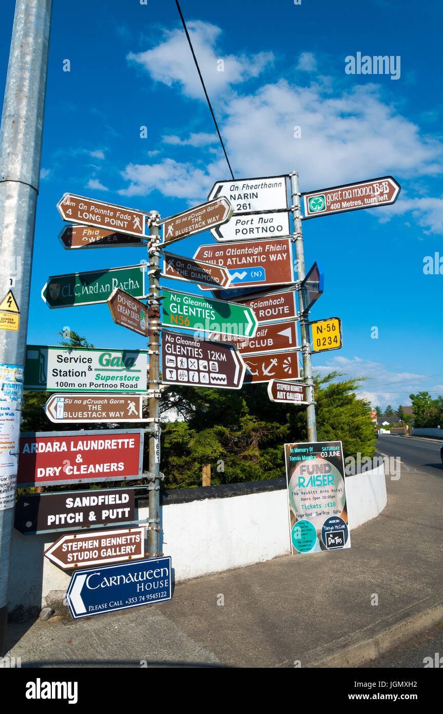 Street sign signs signage in Ardara, County Donegal, Ireland - Stock Image