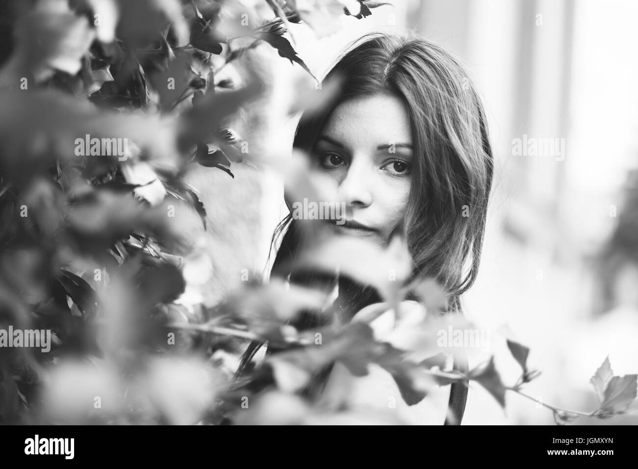 Creative photo of sad young woman - Stock Image