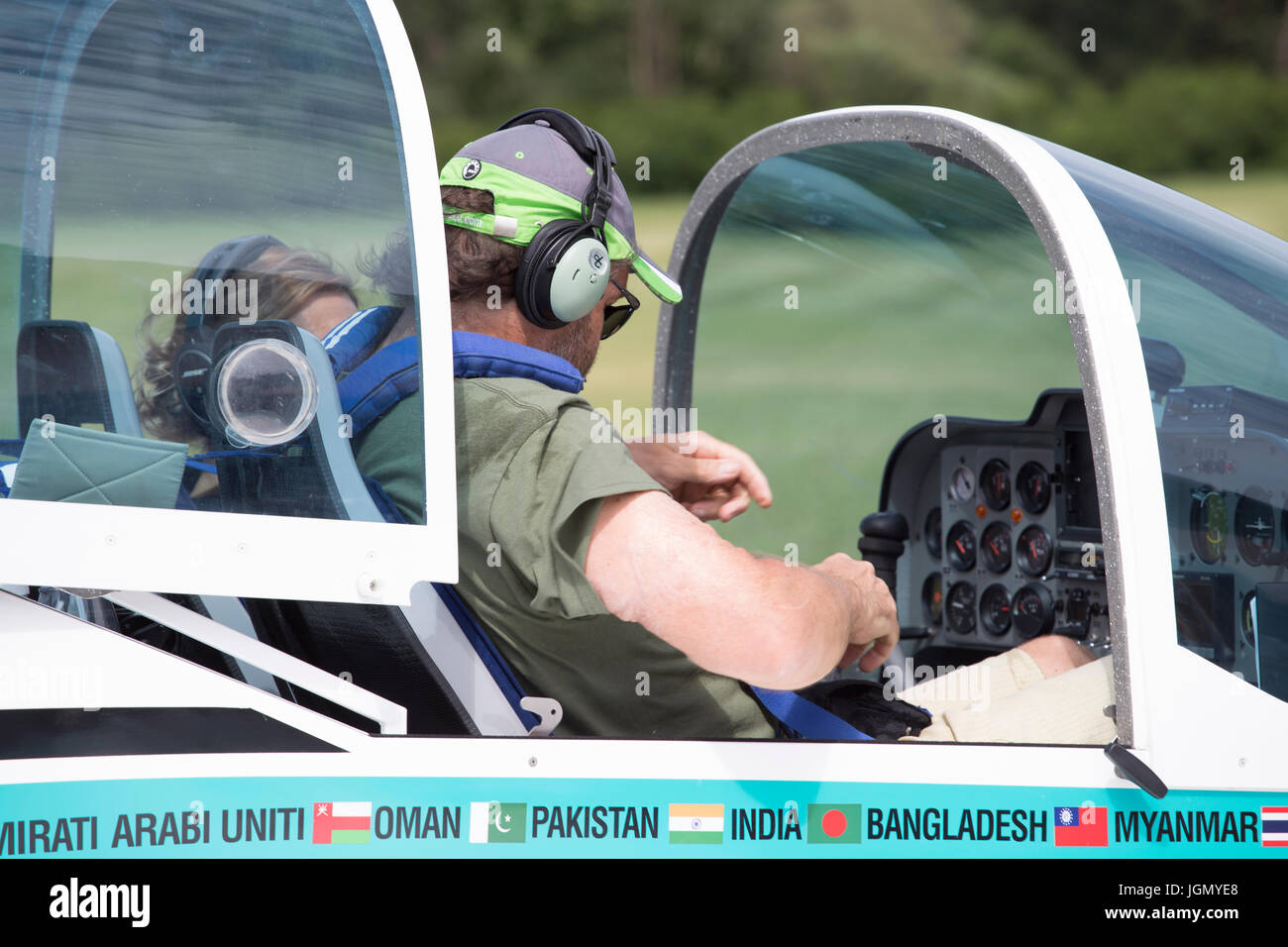 Pilot of the Texan Top Class touristic airplane preparing to fly. Stock Photo