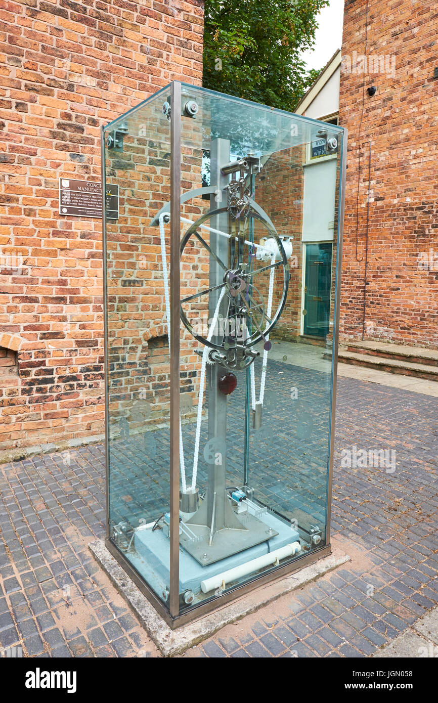 Millennium Clock Made By Clockmaker Paul Beckett, Cocoa Yard, Nantwich, Cheshire, UK - Stock Image