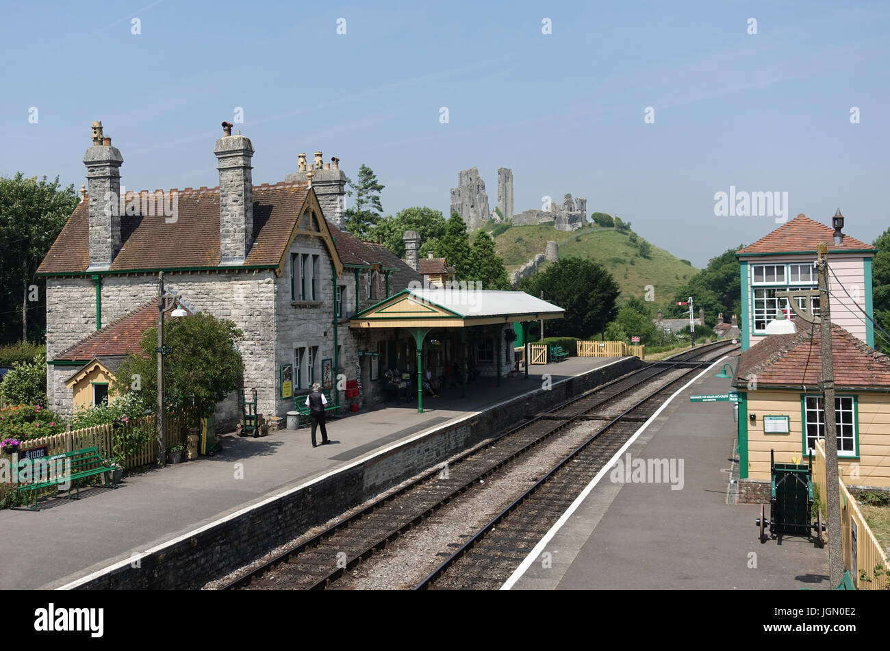 Corfe Castle Station on the Preserved Swanage Railway - Stock Image