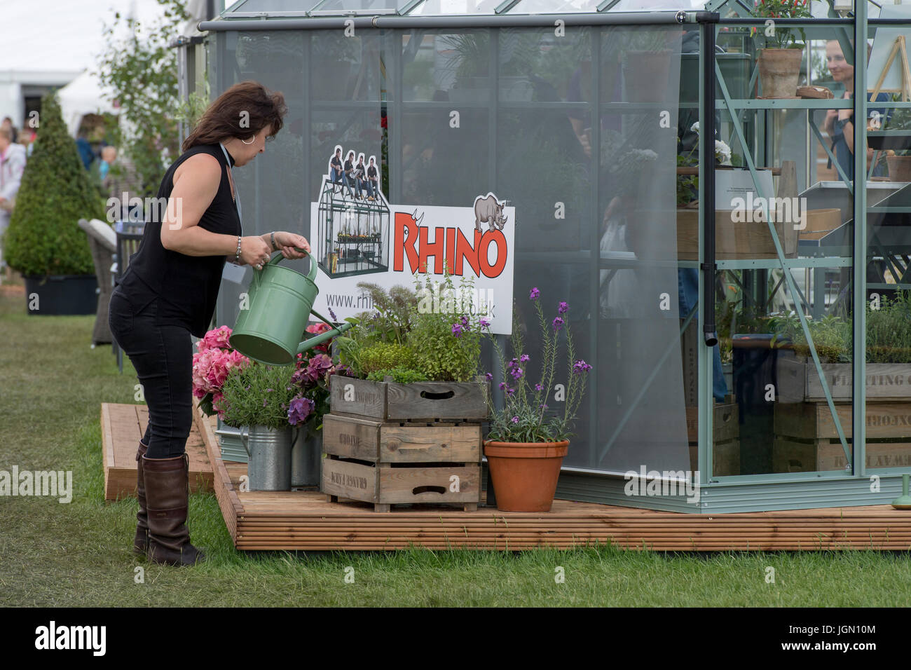 Lady watering plants by greenhouse on display & for sale at Rhino tradestand - RHS Chatsworth Flower Show, Chatsworth - Stock Image
