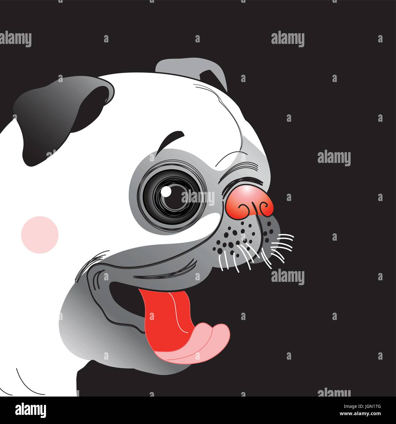 Portrait of a funny pug little on a dark background Stock Vector