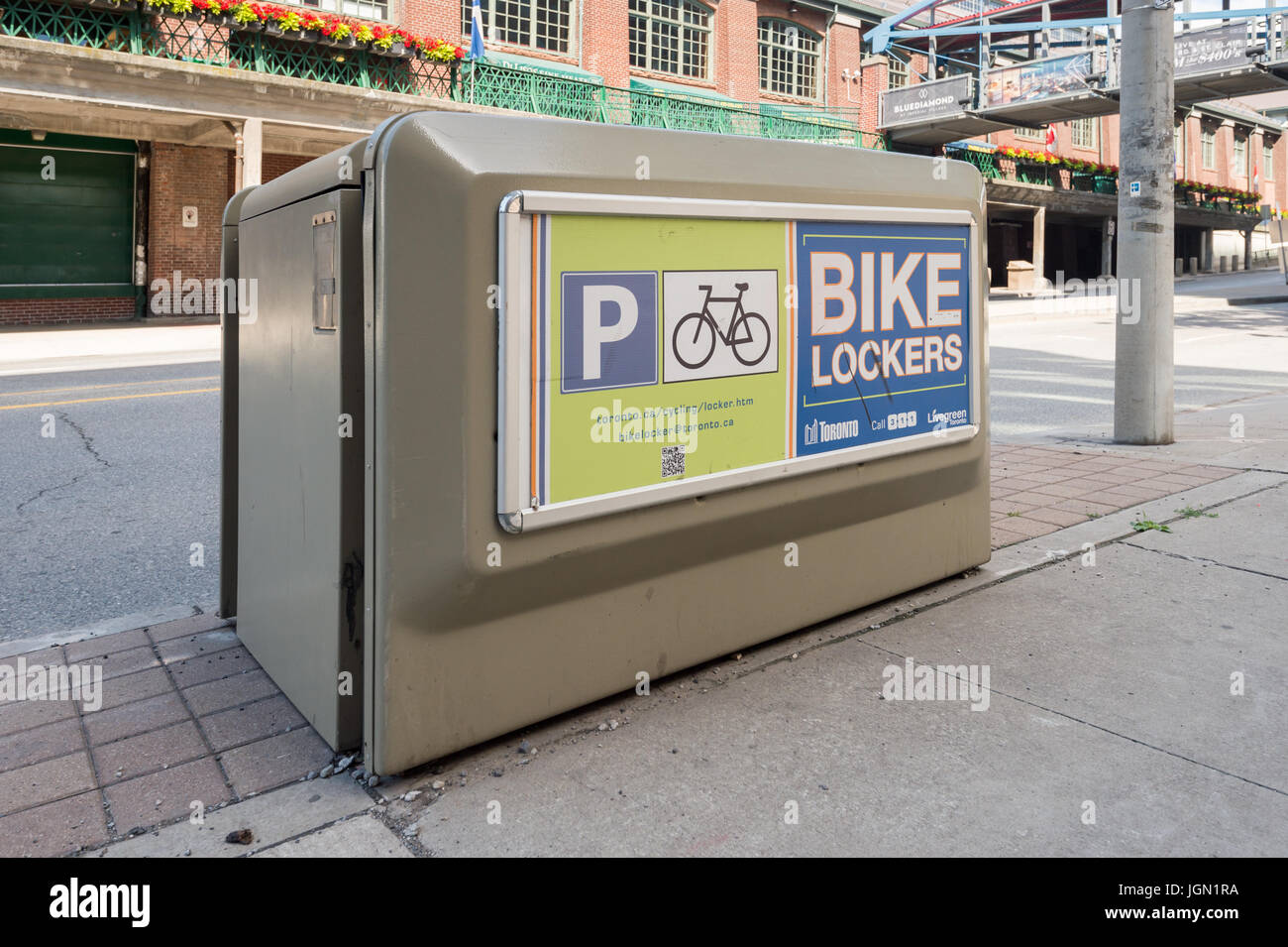 Toronto, Canada - 26 June 2017: Bicycle lockers provide secure bicycle parking in Toronto - Stock Image