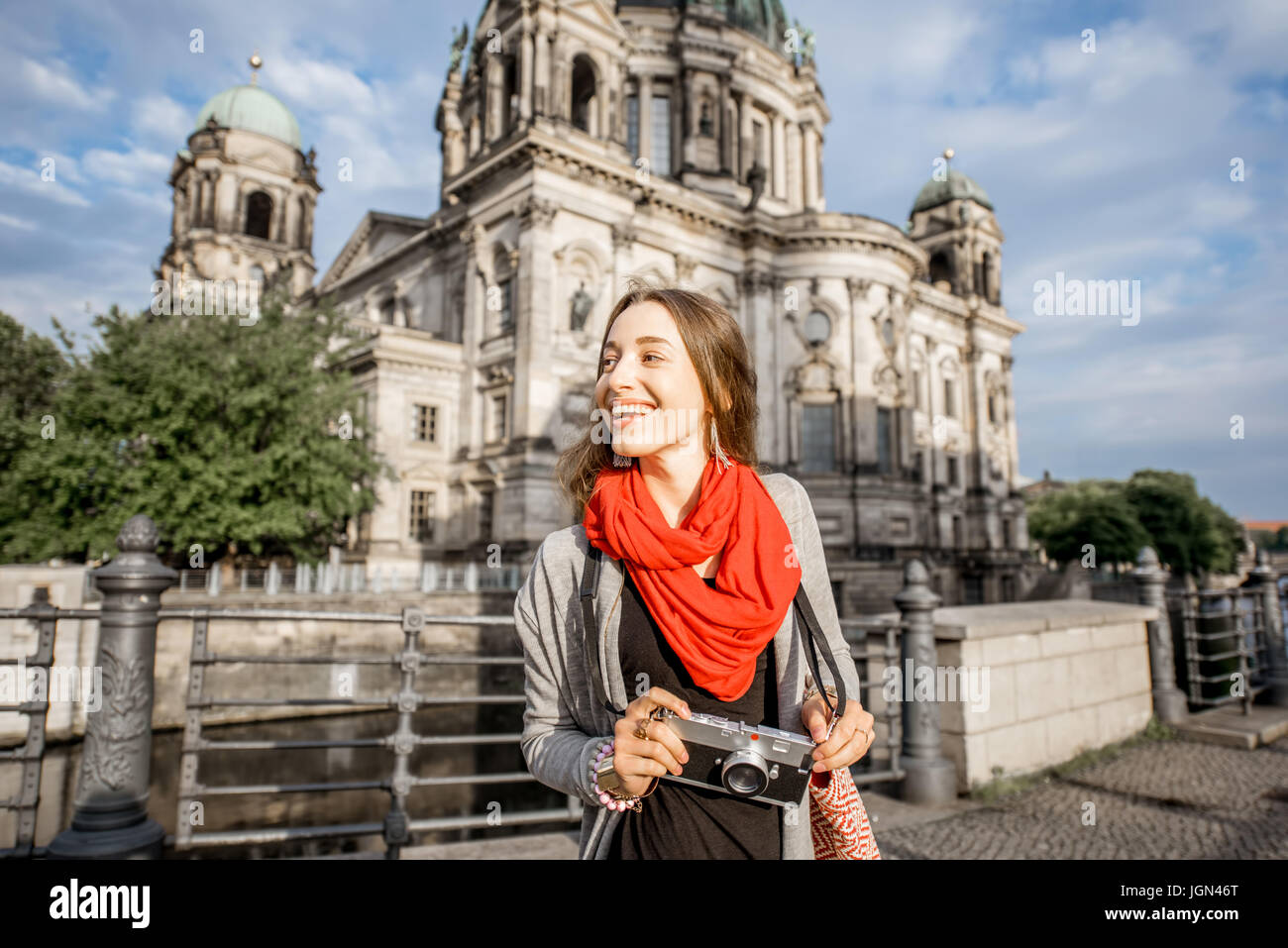 Woman traveling in Berlin - Stock Image